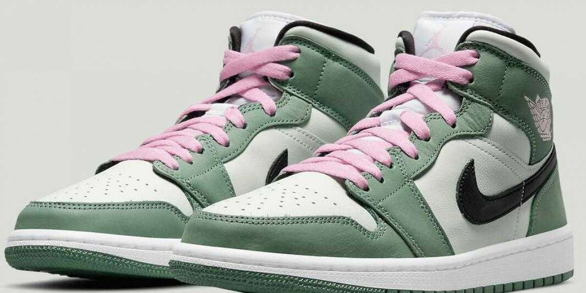 2021 Air Jordan 1 Mid Dutch Green Come With Contrasting Pink Laces
