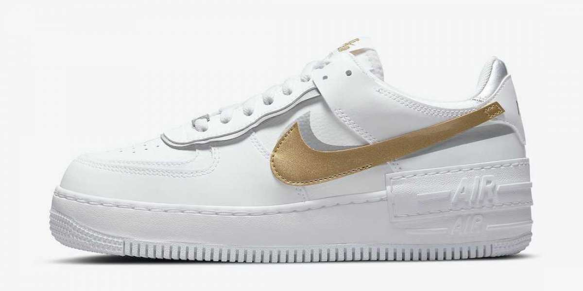 """Nike Air Force 1 Shadow """"White Gold"""" 2021 New Arrival DM3064-100"""
