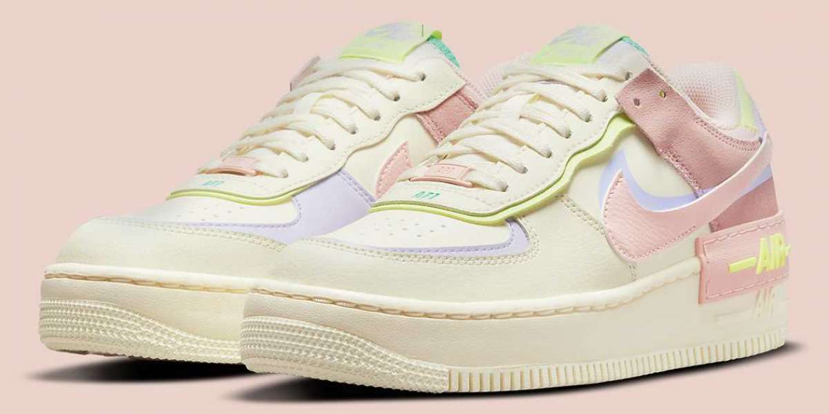 """This Nike Air Force 1 Shadow CI0919-700 pairs """"Cashmere"""" and """"Pale Coral"""""""